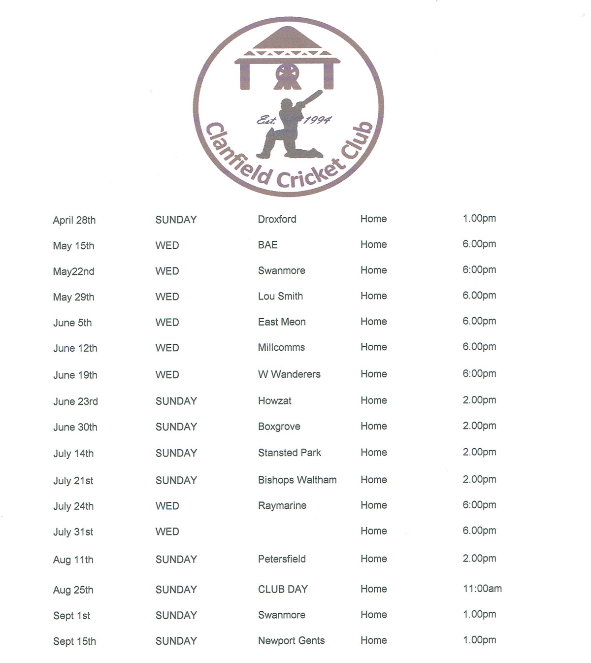 Cricket club timetable